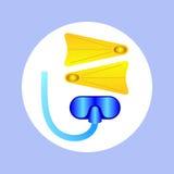 Aletas e máscara do ícone para mergulhar no círculo Imagem de Stock Royalty Free
