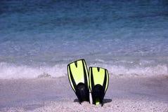 Aletas en el playa Foto de archivo libre de regalías