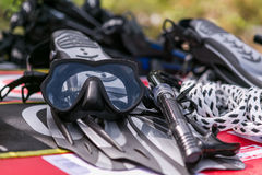 Aletas, máscara e tubo de respiração Imagem de Stock Royalty Free
