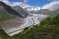 aletch glacier between mountain ranges Royalty Free Stock Images