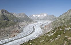 Aletch glacier in summer Royalty Free Stock Photography