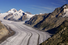 Aletch the longest glacier in Alps Stock Images