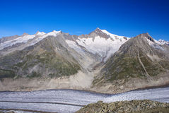 Aletch the longest glacier in Alps Stock Photography