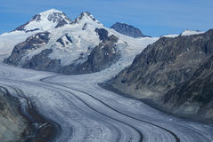 Aletch the longest glacier in Alps Royalty Free Stock Photos