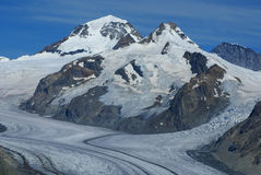 Aletch the longest glacier in Alps Stock Photo