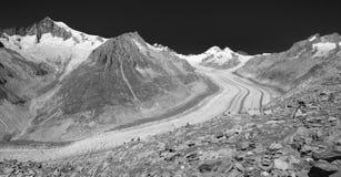 Aletsch竞技场冰川 免版税图库摄影