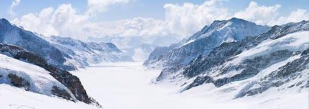 aletsch阿尔卑斯冰川极大的jungfrau瑞士 免版税图库摄影