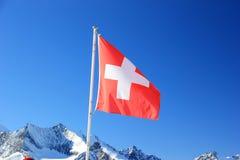 aletsch阿尔卑斯bettmeralp双桅船冰川hohfluh在瑞士瑞士瓦雷兹视图沃利斯冬天 Hohsaas山, 3,142 m 免版税库存照片