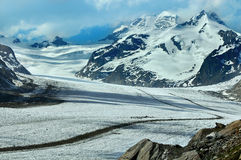 Aletsch. The UNESCO listed world heritage site of the Aletsch glacier with the Jungfrauch (and railway station) centre) and the Monch to the right Stock Photo