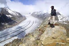 Aletsch glaciär, det största mer gracier i fjällängar Royaltyfri Bild