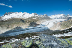 Aletsch glacier. View new Bettmerhorn, Wallis, Switzerland stock photography