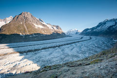 Aletsch glacier. With Moench in the background. Part of the Jungfrau-Aletsch UNESCO World Heritage, Wallis, Switzerland royalty free stock photos
