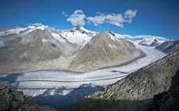 Aletsch glacier. Viewed from eggishorn on sunny day royalty free stock photo