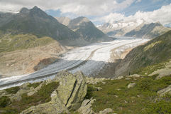 Aletsch glacier. The Great Aletsch Glacier (part of the Jungfrau-Aletsch Protected Area which was declared a UNESCO World Heritage site in 2001 stock image