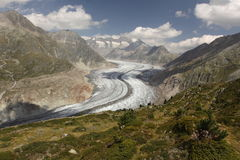 Aletsch glacier. The lower part of Aletsch glacier, which is the largest glacier of Alps stock photos
