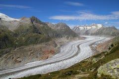 Aletsch Glacier. Summer view on Aletsch Glacier, the longest glacier in Europe stock photos