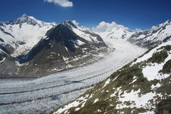 The Aletsch Glacier. In Switzerland stock photography
