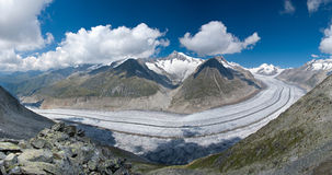 Aletsch Glacier. View from Eggishorn Mountain of the Aletsch Glacier in the Jungfrau-Aletsch Protected Area, a UNESCO World Heritage Site in Switzerland stock photography