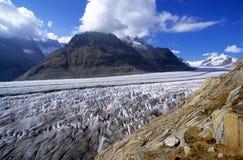 Aletsch Glacier. Ice stream of Aletsch glacier, Alps, Wallis, Switzerland stock images