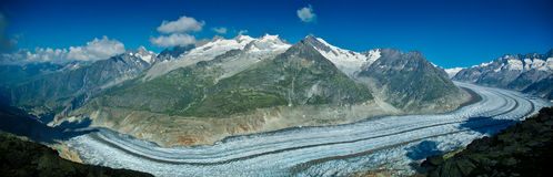 Aletsch glacier. Panoramic view on the end of the glacier Aletch Stock Photos