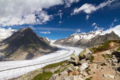 Aletsch glacier. Beautiful panorama of the breathtaking Aletsch glacier as seen from the Bettmer alp in switserland, on a sunny day with clouds in summer Stock Photos