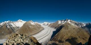Aletsch glacier. View from Eggishorn, Wallis, Switzerland royalty free stock photos
