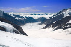 Aletsch Glacier in the Alps. This is a top view of the Aletsch Glacier photographed from the Jungfraujoch located at 3471 meters in the Bernese Alps, Switzerland royalty free stock images