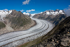 Aletsch glacier in the Alps, Switzerland. The Aletsch glacier from Switzerland is the largest glacier in the Alps. It has a length of about 23 km and covers more royalty free stock photo