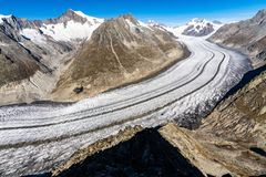 Aletsch Glacier in the Alps of Switzerland royalty free stock photos