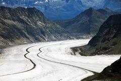 Aletsch Glacier in Berner Oberland Stock Image