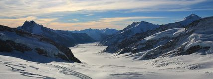 Aletsch glacier and high mountains, view from the Jungfraujoch. Morning scene in the Swiss Alps stock photos