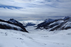 The Aletsch Glacier in the Jungfrau region of Switzerland Royalty Free Stock Images