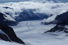 The Aletsch Glacier in the Jungfrau region of Switzerland Stock Photography