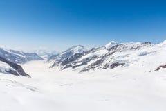 Aletsch Glacier in the Jungfraujoch, Alps, Switzerland Stock Images
