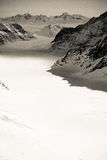 The Aletsch Glacier at the Jungfraujoch in black and white Royalty Free Stock Image
