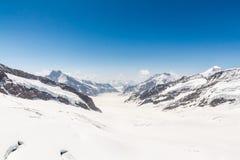 Aletsch Glacier in the Jungfraujoch, Swiss Alps, Switzerland. Aletsch Glacier landscape in the Jungfraujoch, Alps, Switzerland royalty free stock photo