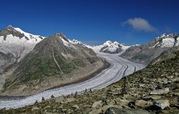Aletsch Glacier - glacier in the Alps mountains, landmark attraction in Switzerland. Aletsch Glacier - the largest glacier in the Alps mountains, landmark Stock Image