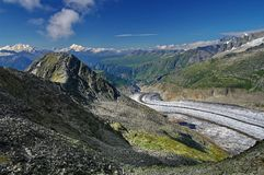 Aletsch Glacier - glacier in the Alps mountains, landmark attraction in Switzerland. Aletsch Glacier - the largest glacier in the Alps mountains, landmark Royalty Free Stock Photography