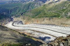 Aletsch Glacier - glacier in the Alps mountains, landmark attraction in Switzerland. Aletsch Glacier - the largest glacier in the Alps mountains, landmark Stock Photo