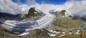 Aletsch glacier, the largest gracier in Alps. Royalty Free Stock Photo