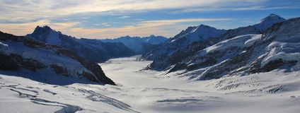 Aletsch glacier and mountains. View from Jungfraujoch, Switzerland. Mountain landscape in the Swiss Alps. Aletsch glacier, longest glacier of the Alps stock image