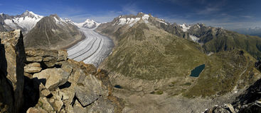 Aletsch glacier - panoramic view. Aletsch glacier, Wallis, Switzerland, UNESCO world natural heritage royalty free stock photography