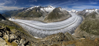 Aletsch glacier - panoramic view. Aletsch glacier, Wallis, Switzerland, UNESCO world natural heritage royalty free stock photos