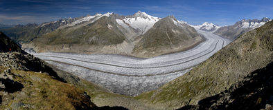 Aletsch glacier - panoramic view. Panorama: The Aletsch glacier (Aletschgletscher) - the largest glacier of Europe in the Swiss Alps royalty free stock image