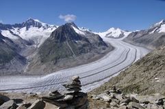 Aletsch Glacier. Snow-coverred Aletsch Glacier and Alps mountains in Switzerland stock images