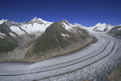 Aletsch Glacier. In southern Switzerland - the largest glacier in Europe. View from Eggishorn stock photography