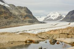 Aletsch glacier in Swiss Alps stock photo