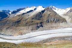 Aletsch Glacier in the Swiss Alps Royalty Free Stock Photo