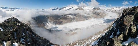 Aletsch Glacier, Switzerland. Panorama of largest european glacier Aletsch, Bernese Alps, Switzerland royalty free stock photography