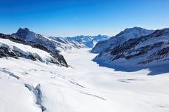 Aletsch Glacier, Switzerland. Mount Jungfrau, Alps, view from Jungfraujoch, Switzerland, Europe Stock Image